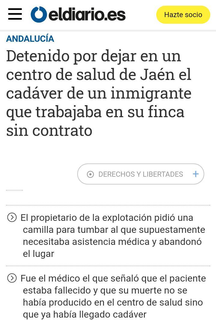 Detenido Por Dejar En Un Centro De Salud El Cadáver De Un Inmigrante Sin Contrato