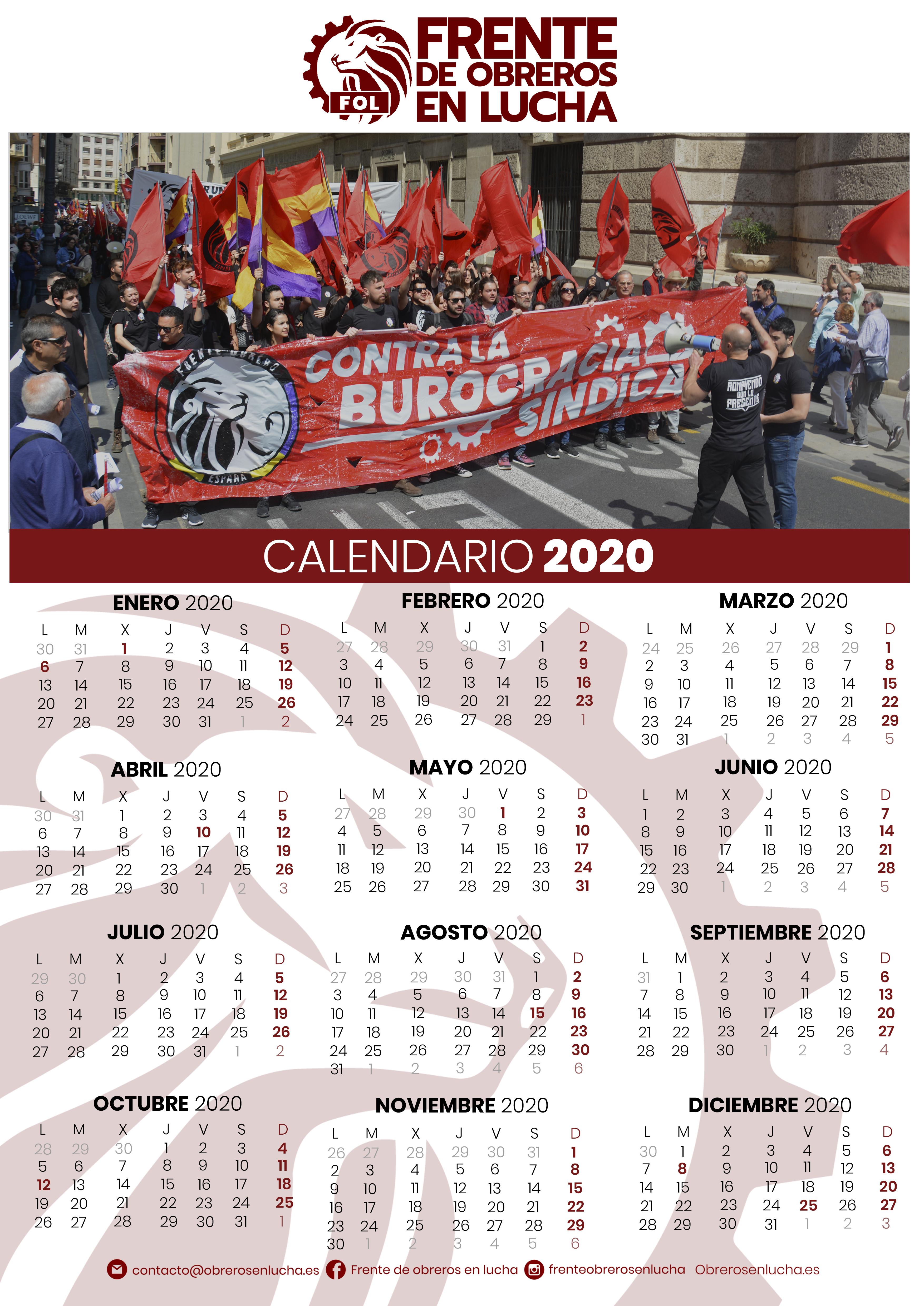 Calendario FOL 2020