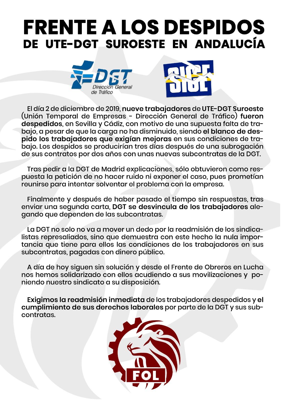 Frente A Los Despidos De UTE-DGT Suroeste En Andalucía