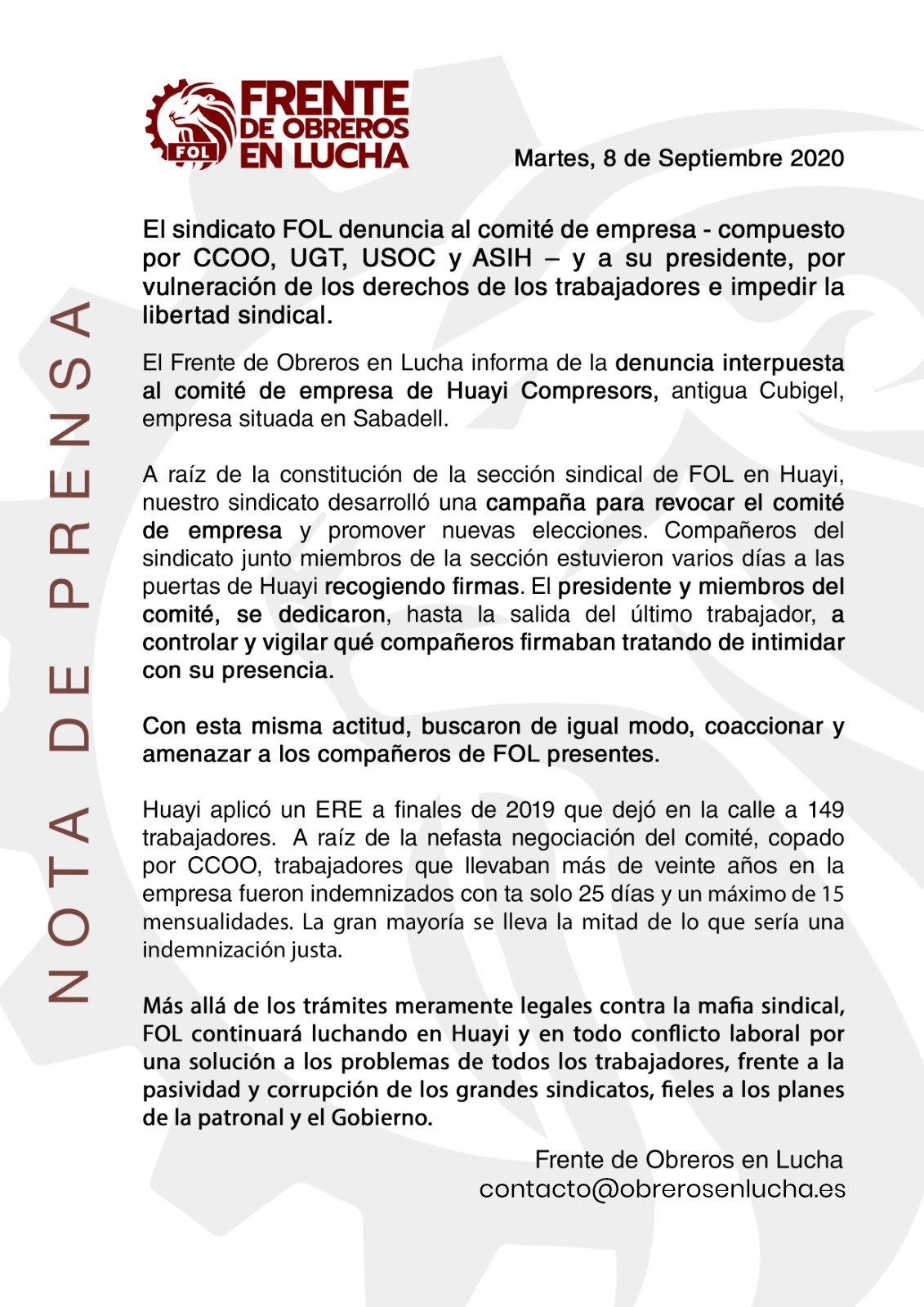 Nota De Prensa Tras La Denuncia Interpuesta